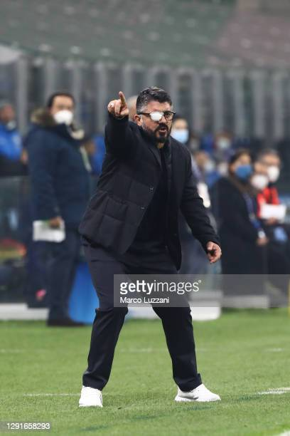 Gennaro Gattuso, Head Coach of S.S.C. Napoli gives their team instructions during the Serie A match between FC Internazionale and SSC Napoli at...