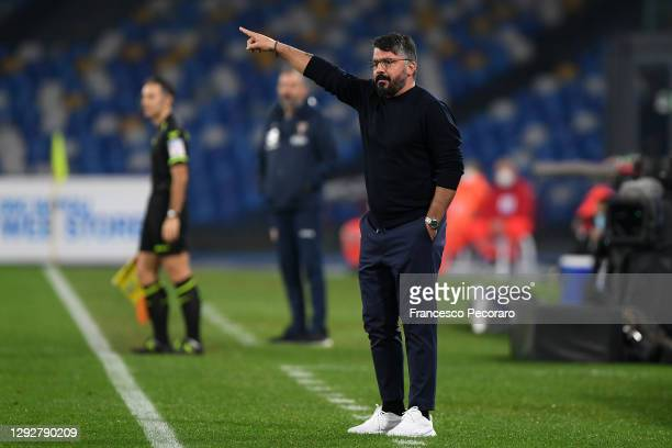 Gennaro Gattuso, Head Coach of S.S.C. Napoli gives their team instructions during the Serie A match between SSC Napoli and Torino FC at Stadio Diego...