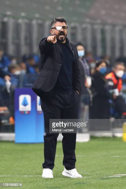 Gennaro Gattuso, Head Coach of S.S.C. Napoli gives their team instructions whilst wearing an eye patch on his glasses during the Serie A match...