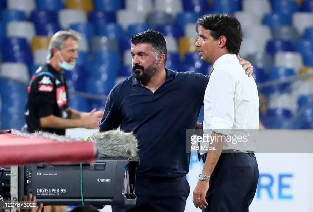 Gennaro Gattuso head coach of SSC Napoli greets Simone Inzaghi head coach of SS Lazio during the Serie A match between SSC Napoli and SS Lazio at...