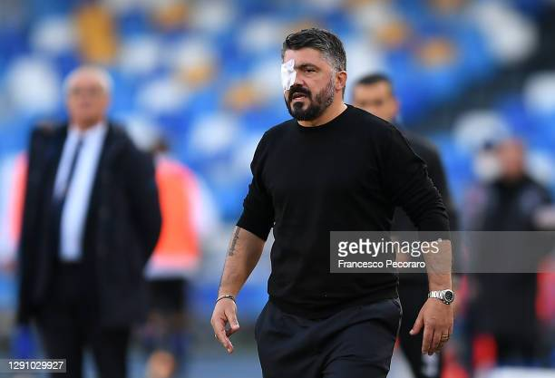Gennaro Gattuso, Head Coach of S.S.C. Napoli looks on as he wears an eye patch during the Serie A match between SSC Napoli and UC Sampdoria at Stadio...