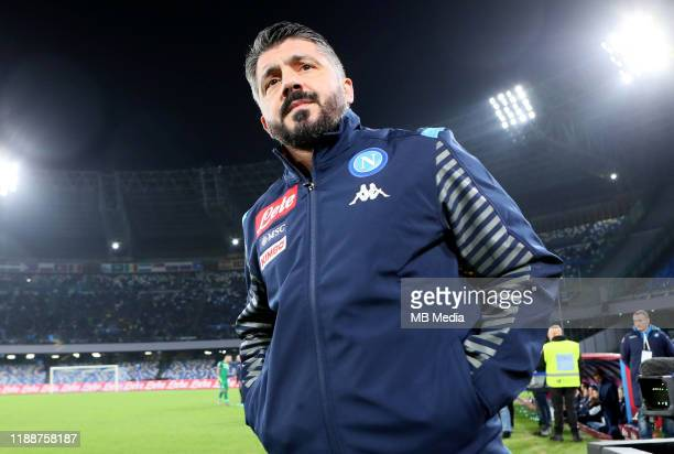 Gennaro Gattuso head coach of SSC Napoli looks on during the Serie A match between SSC Napoli and Parma Calcio at Stadio San Paolo on December 14...