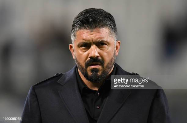Gennaro Gattuso head coach of SSC Napoli looks on during the Serie A match between US Sassuolo and SSC Napoli at Mapei Stadium - Citta del Tricolore...