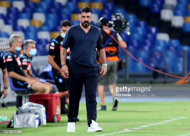 Gennaro Gattuso head coach of SSC Napoli looks on during the Serie A match between SSC Napoli and SS Lazio at Stadio San Paolo on August 1 2020 in...