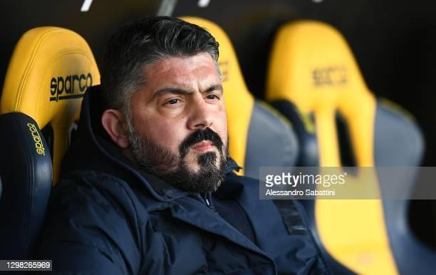 Gennaro Gattuso head coach of SSC Napoli looks on during the Serie A match between Hellas Verona FC and SSC Napoli at Stadio Marcantonio Bentegodi on...