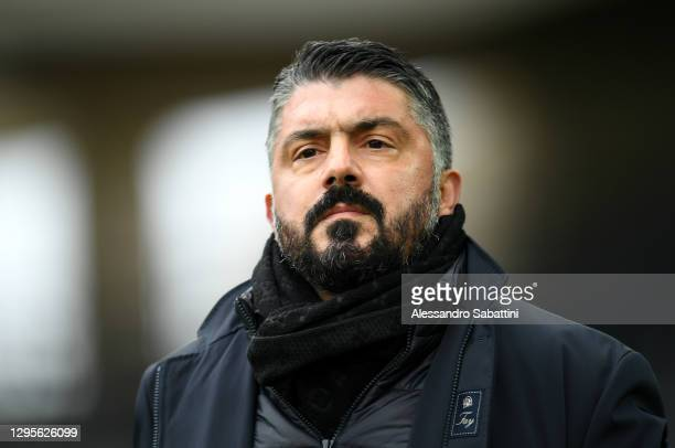 Gennaro Gattuso, Head Coach of SSC Napoli looks on prior to the Serie A match between Udinese Calcio and SSC Napoli at Dacia Arena on January 10,...