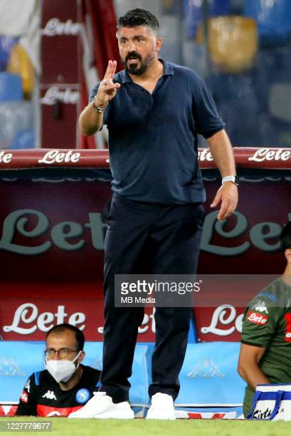 Gennaro Gattuso head coach of SSC Napoli reacts during the Serie A match between SSC Napoli and US Sassuolo at Stadio San Paolo on July 25 2020 in...