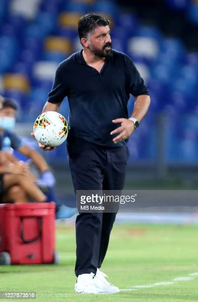 Gennaro Gattuso head coach of SSC Napoli reacts during the Serie A match between SSC Napoli and SS Lazio at Stadio San Paolo on August 1 2020 in...