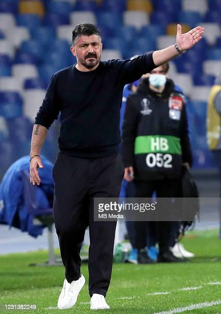 Gennaro Gattuso Head Coach of SSC Napoli reacts ,during the UEFA Europa League Round of 32 match between SSC Napoli and Granada CF at Stadio Diego...