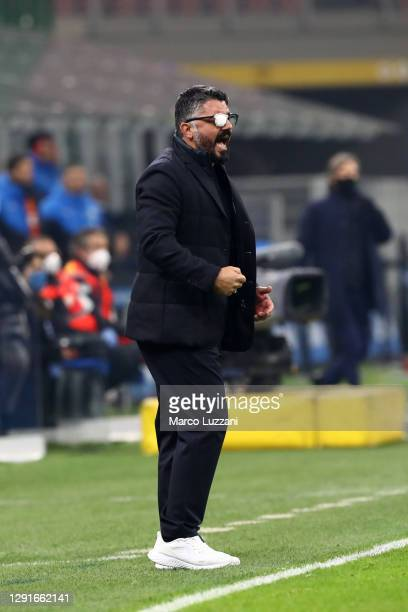 Gennaro Gattuso, Head Coach of S.S.C. Napoli reacts whilst wearing an eye patch on his glasses during the Serie A match between FC Internazionale and...