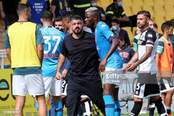 Gennaro Gattuso Head Coach of SSC Napoli talks with Victor Osimhen during the Serie A match between Parma Calcio and SSC Napoli at Stadio Ennio...