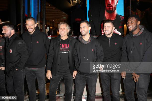 Gennaro Gattuso Leonardo Bonucci Renzo Rosso Susa Patrick Cutrone and Franck Kessie attend DIESEL X AC MILAN SPECIAL COLLECTION on January 18 2018 in...