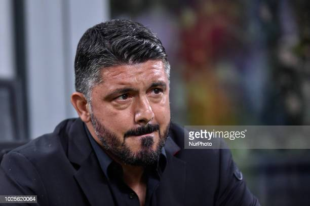 Gennaro Gattuso manager of AC Milan during Serie A match between AC Milan v AS Roma in Milan Italy on August 31 2018