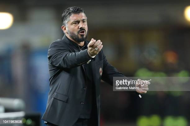 Gennaro Gattuso manager of AC Milan gestures during the serie A match between Empoli and AC Milan at Stadio Carlo Castellani on September 27 2018 in...