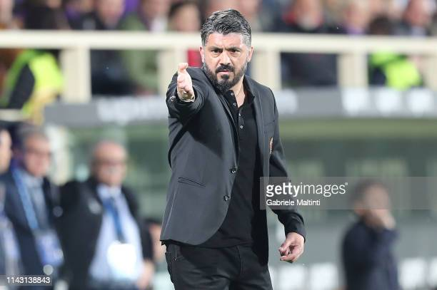 Gennaro Gattuso manager of AC Milan gestures during the Serie A match between ACF Fiorentina and AC Milan at Stadio Artemio Franchi on May 11 2019 in...