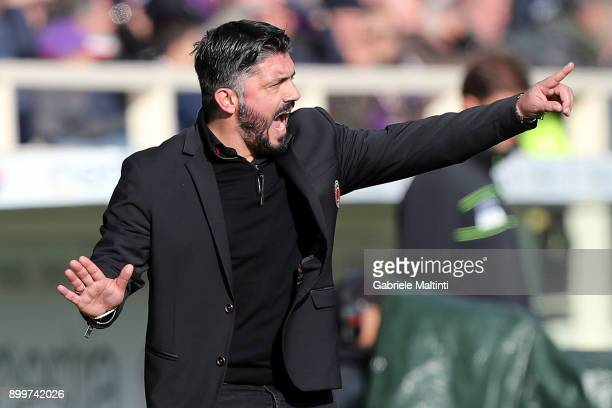 Gennaro Gattuso manager of AC Milan gestures during the serie A match between ACF Fiorentina and AC Milan at Stadio Artemio Franchi on December 30...