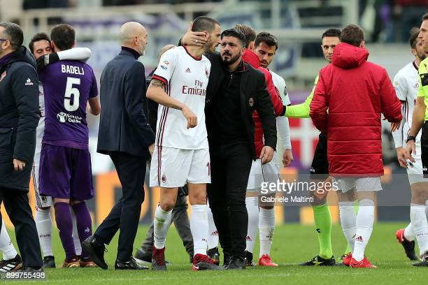 Gennaro Gattuso manager of AC Milan gestures with Leonardo Bonucci of AC Milan during the serie A match between ACF Fiorentina and AC Milan at Stadio...