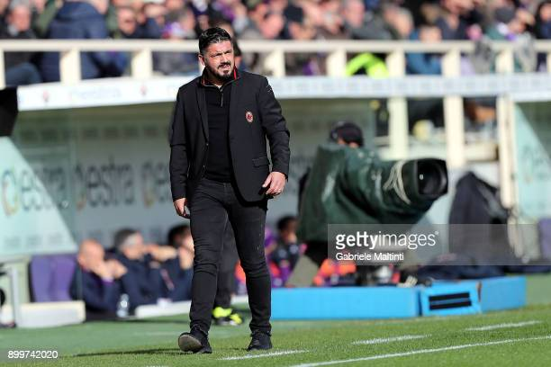 Gennaro Gattuso manager of AC Milan look on during the serie A match between ACF Fiorentina and AC Milan at Stadio Artemio Franchi on December 30...