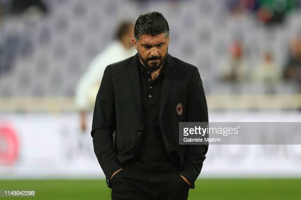 Gennaro Gattuso manager of AC Milan looks on during the Serie A match between ACF Fiorentina and AC Milan at Stadio Artemio Franchi on May 11 2019 in...