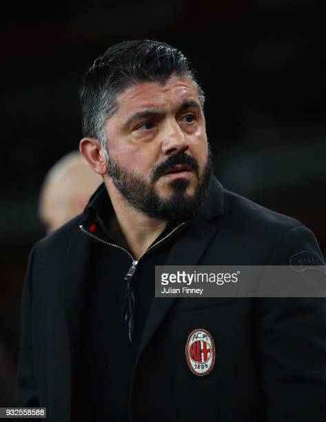 Gennaro Gattuso manager of AC Milan looks on during the UEFA Europa League Round of 16 match between Arsenal and AC Milan at Emirates Stadium on...