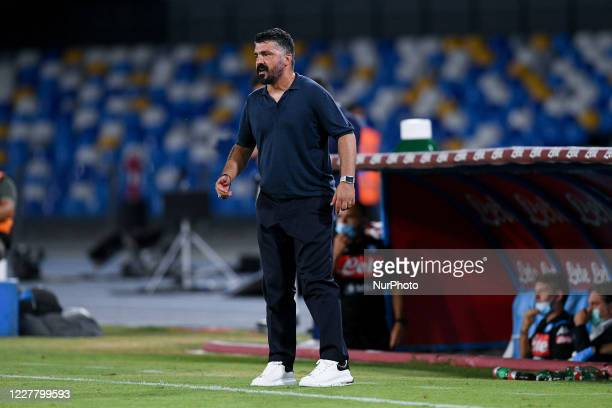 Gennaro Gattuso manager of SSC Napoli during the Serie A match between Napoli and Sassuolo at Stadio San Paolo Naples Italy on 25 July 2020
