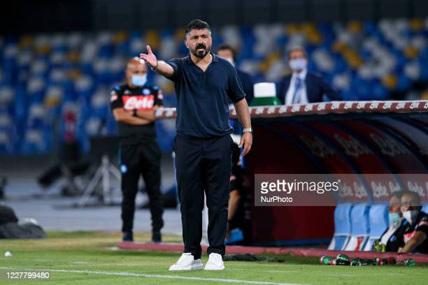 Gennaro Gattuso manager of SSC Napoli gestures during the Serie A match between Napoli and Sassuolo at Stadio San Paolo Naples Italy on 25 July 2020