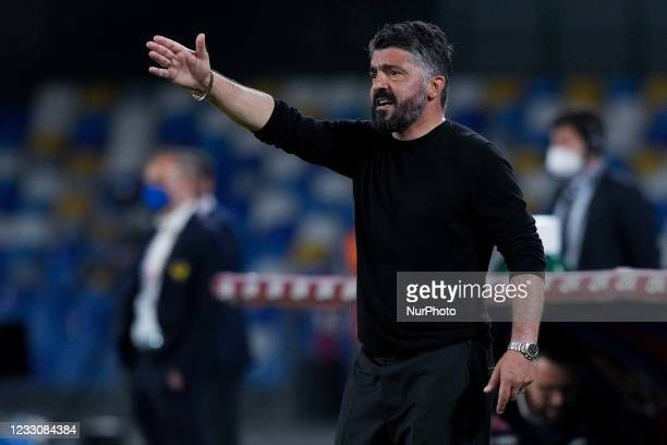Gennaro Gattuso manager of SSC Napoli gestures during the Serie A match between SSC Napoli and Hellas Verona at Stadio Diego Armando Maradona,...