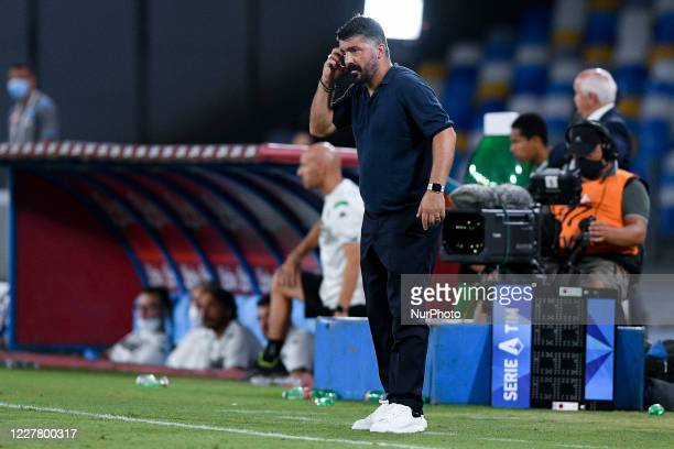 Gennaro Gattuso manager of SSC Napoli looks thoughtful during the Serie A match between Napoli and Sassuolo at Stadio San Paolo Naples Italy on 25...