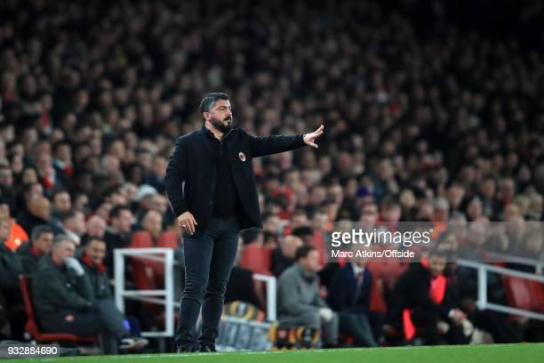 Gennaro Gattuso manger / head coach of AC Milan during the UEFA Europa League Round of 16 2nd leg match between Arsenal and AC MIian at Emirates...