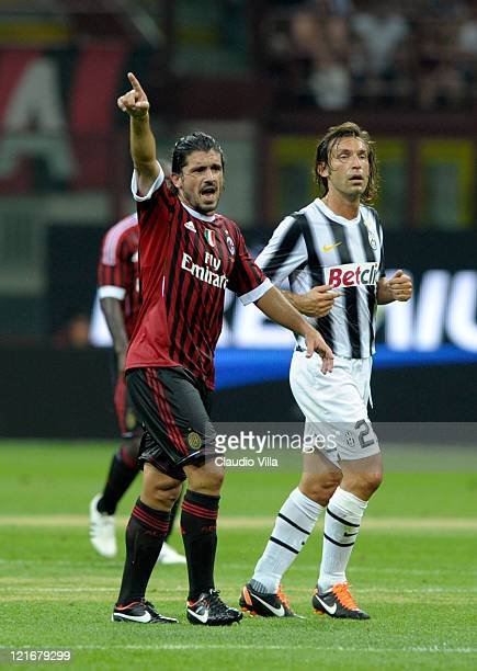 Gennaro Gattuso of AC Milan and Andrea Pirlo of Juventus FC during the Berlusconi Trophy match between AC Milan and Juventus FC at Giuseppe Meazza...