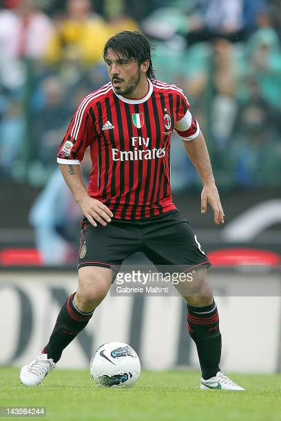 Gennaro Gattuso of AC Milan in action during the Serie A match between AC Siena and AC Milan at Artemio Franchi Mps Arena Stadium on April 29 2012 in...