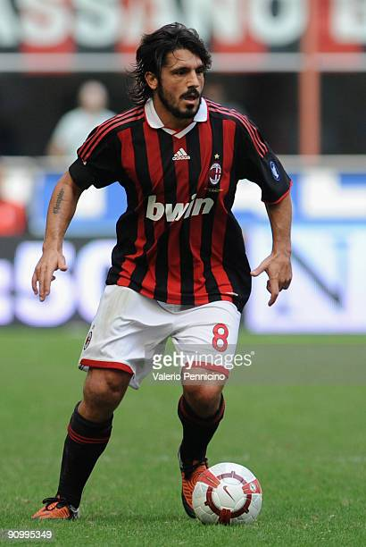 Gennaro Gattuso of AC Milan in action during the Serie A match between AC Milan and Bologna FC at Stadio Giuseppe Meazza on September 20 2009 in...