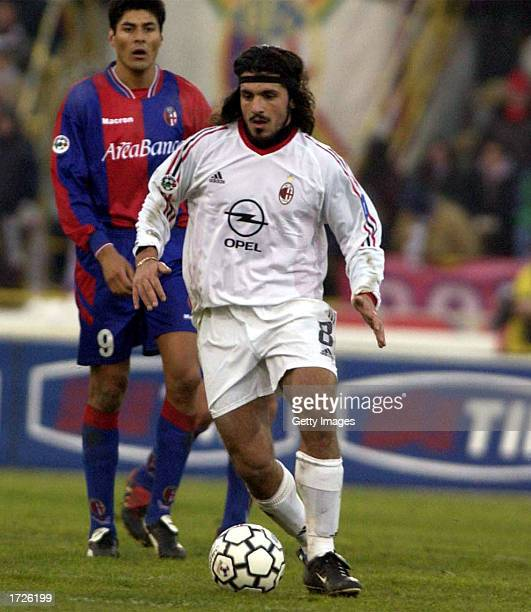 Gennaro Gattuso of AC Milan in action during the Serie A match between Bologna and AC Milan played at the Renato Dall'Ara Stadium Bologna Italy on...