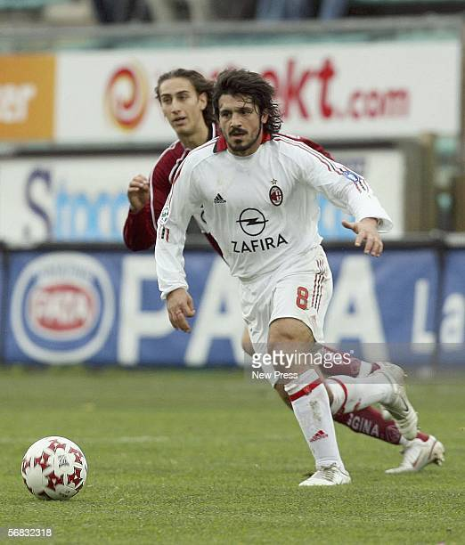 Gennaro Gattuso of AC Milan in action during the Serie A match between Reggina and AC Milan at Stadio Oreste Granillo on February 12 2006 in Reggio...