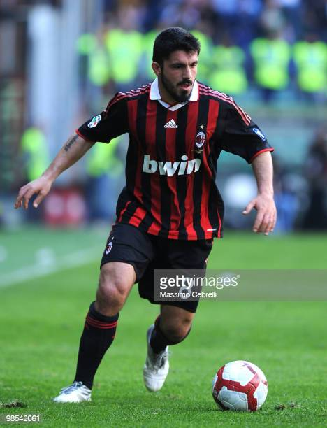 Gennaro Gattuso of AC Milan in action during the Serie A match between UC Sampdoria and AC Milan at Stadio Luigi Ferraris on April 18 2010 in Genoa...