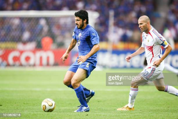 Gennaro Gattuso of Italy and Zinedine Zidane of France during the World Cup final match between Italy and France at the Olympiastadion in Berlin...