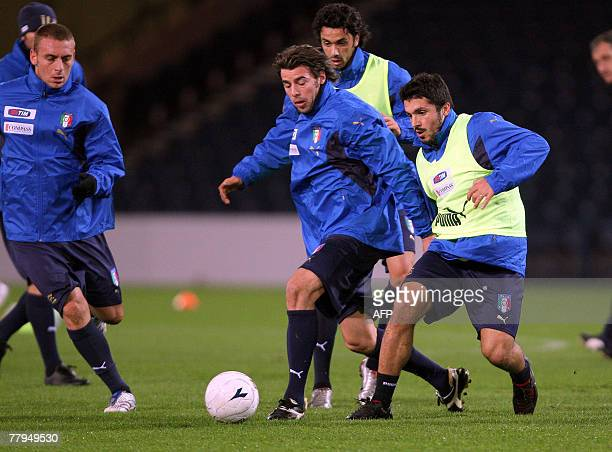Gennaro Gattuso of Italy attends a training session at Hampden Park Glasgow Scotland 16 November 2007 prior to the Euro 2008 Championship Qualifying...