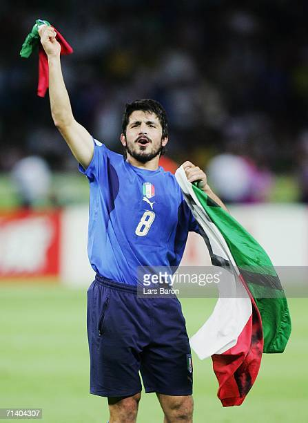 Gennaro Gattuso of Italy celebrates his team's victory in a penalty shootout at the end of the FIFA World Cup Germany 2006 Final match between Italy...