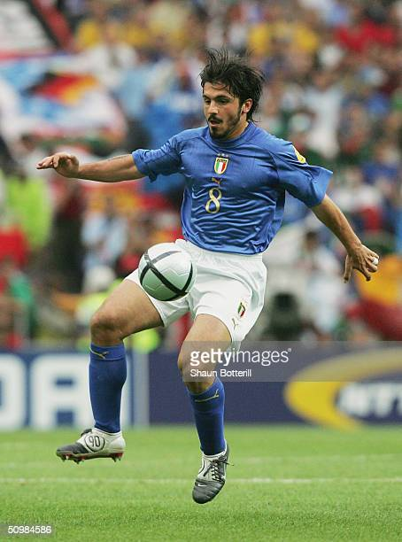 Gennaro Gattuso of Italy controls the ball during the UEFA Euro 2004 Group C match between Italy and Sweden on June 18 2004 at the Estadio Dragao in...