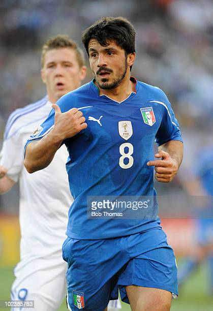 Gennaro Gattuso of Italy during the 2010 FIFA World Cup South Africa Group F match between Slovakia and Italy at Ellis Park Stadium on June 24 2010...