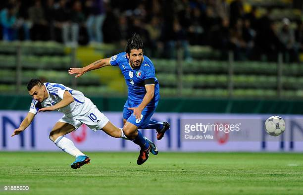 Gennaro Gattuso of Italy focusses the ball during the FIFA 2010 World Cup Group 8 Qualifying match between Italy and Cyprus at Ennio Tardini Stadium...