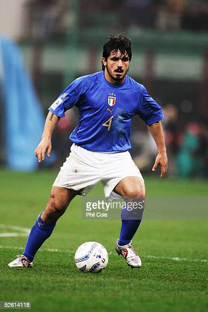 Gennaro Gattuso of Italy in action during the the World Cup Qualifier Group Five match between Italy and Scotland at the San Siro on March 26 2005 in...