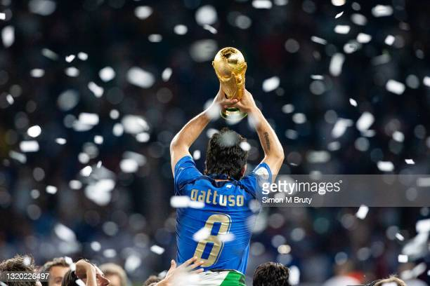 Gennaro Gattuso of Italy lifting the World Cup Trophy. World Cup Final match between France and Italy . Italy would win on penalties to at the...