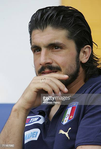 Gennaro Gattuso of Italy looks thoughtful prior to the friendly match between Italy and MSV Duisburg U19 Team at MSV Duisburg Arena on June 9 2006 in...