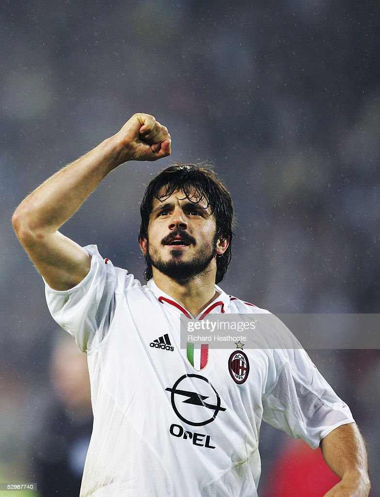 Gennaro Gattuso of Milan celebrates following the UEFA Champions League Semi Final, 2nd Leg, match between PSV Eindhoven and AC Milan, held at The Philips Stadion on May 4, 2005 in Eindhoven, Netherlands