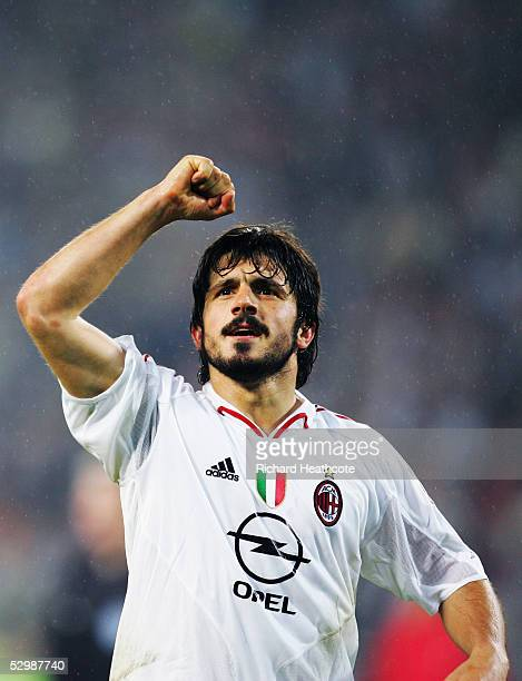 Gennaro Gattuso of Milan celebrates following the UEFA Champions League Semi Final, 2nd Leg, match between PSV Eindhoven and AC Milan, held at The...