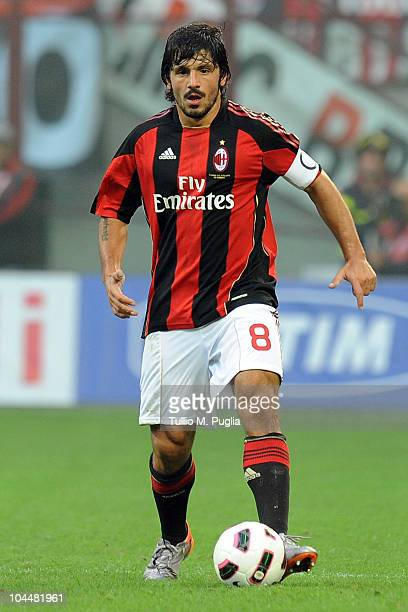 Gennaro Gattuso of Milan in action during the Serie A match between Milan and Genoa at Stadio Giuseppe Meazza on September 26 2010 in Milan Italy