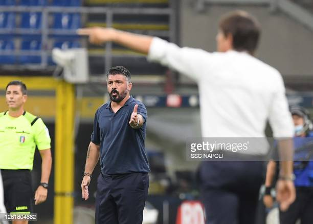 Gennaro Gattuso of Napoli during the Serie A match between FC Internazionale and SSC Napoli at Stadio Giuseppe Meazza on July 28 2020 in Milan Italy