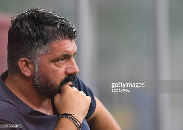 Gennaro Gattuso of Napoli looks on prior to the Serie A match between FC Internazionale and SSC Napoli at Stadio Giuseppe Meazza on July 28 2020 in...