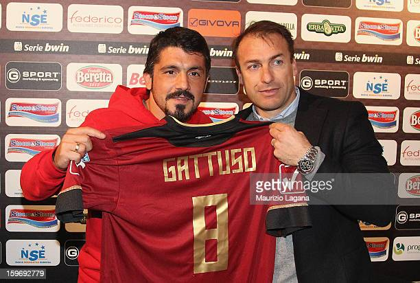 Gennaro Gattuso of Sion and Simone Giacchetta sporting director of Reggina pose showing Reggina Calcio shirt before the friendly match between...